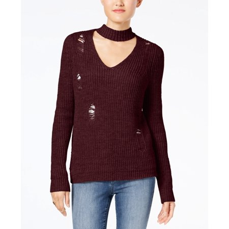 Almost Famous - Crave Fame Ripped Choker Sweater - Juniors - LARGE