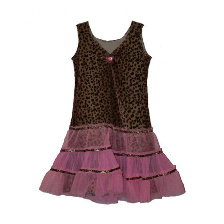 LEOPARD DIVA DRESS tutu kitty cat girls kids halloween costume M (Halloween Leopard Cat Costumes)