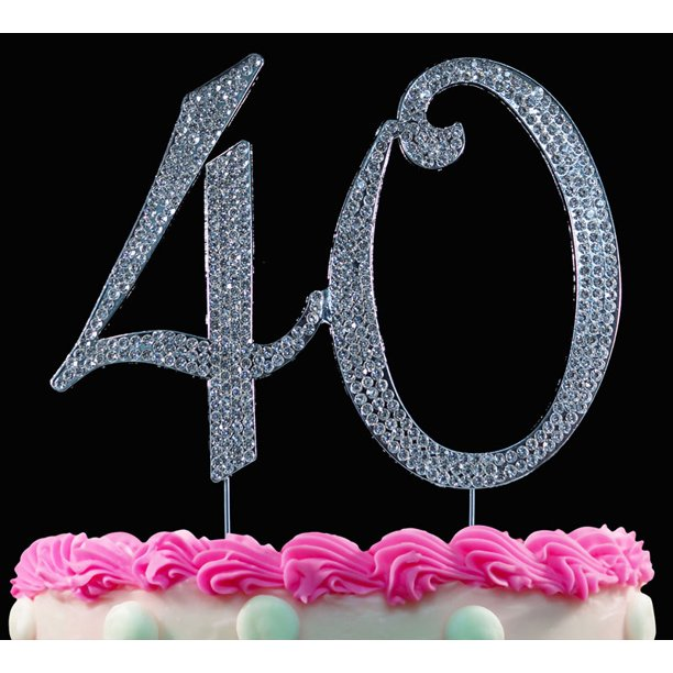 Astonishing 40Th Birthday Cake Toppers Crystal Cake Topper 40 Anniversary Cake Personalised Birthday Cards Arneslily Jamesorg