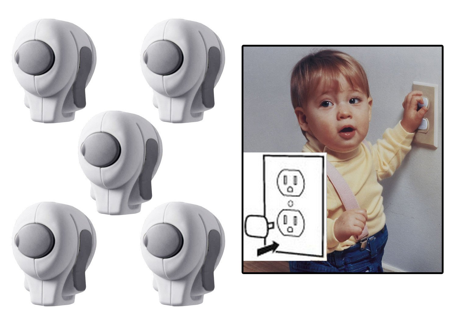 Superbe KidCo Door Knob Lock 5 Pack With Bonus Outlet Plug Covers, Clear