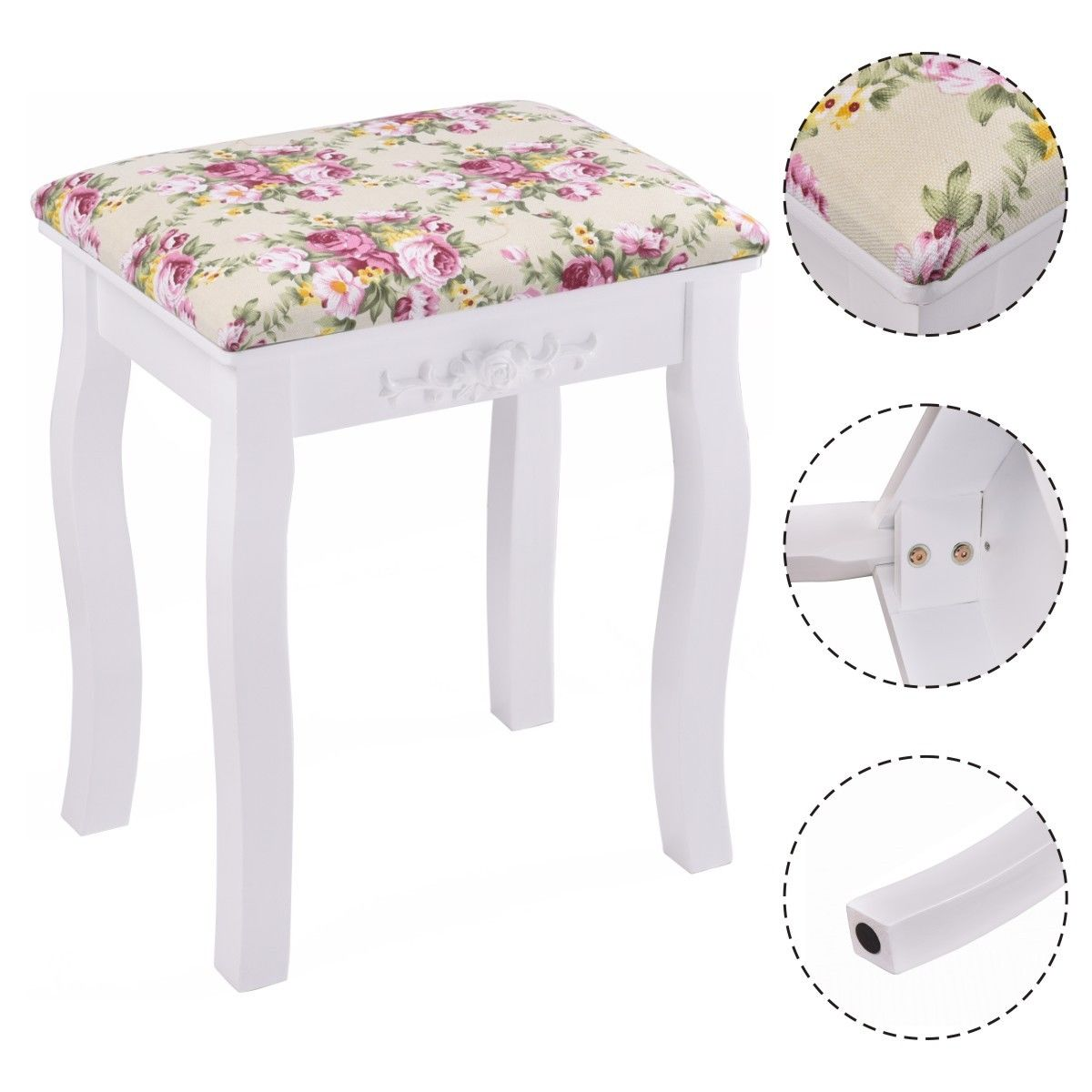 Product Image Costway White Vanity Wood Dressing Stool Padded Chair Makeup  Bathroom W/ Rose Cushion