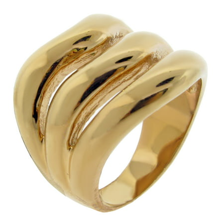 Gold Womens Pearl Ring (Stainless Steel Ring with Gold Ion Plating )