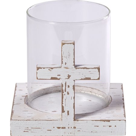 Precious Moments Rustic Farmhouse Distressed Cross Wood And Glass Votive Candle Holder 173429