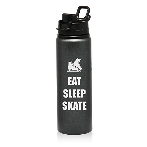 25 oz Aluminum Sports Water Travel Bottle Eat Sleep Skate Ice Skates (Charcoal) by
