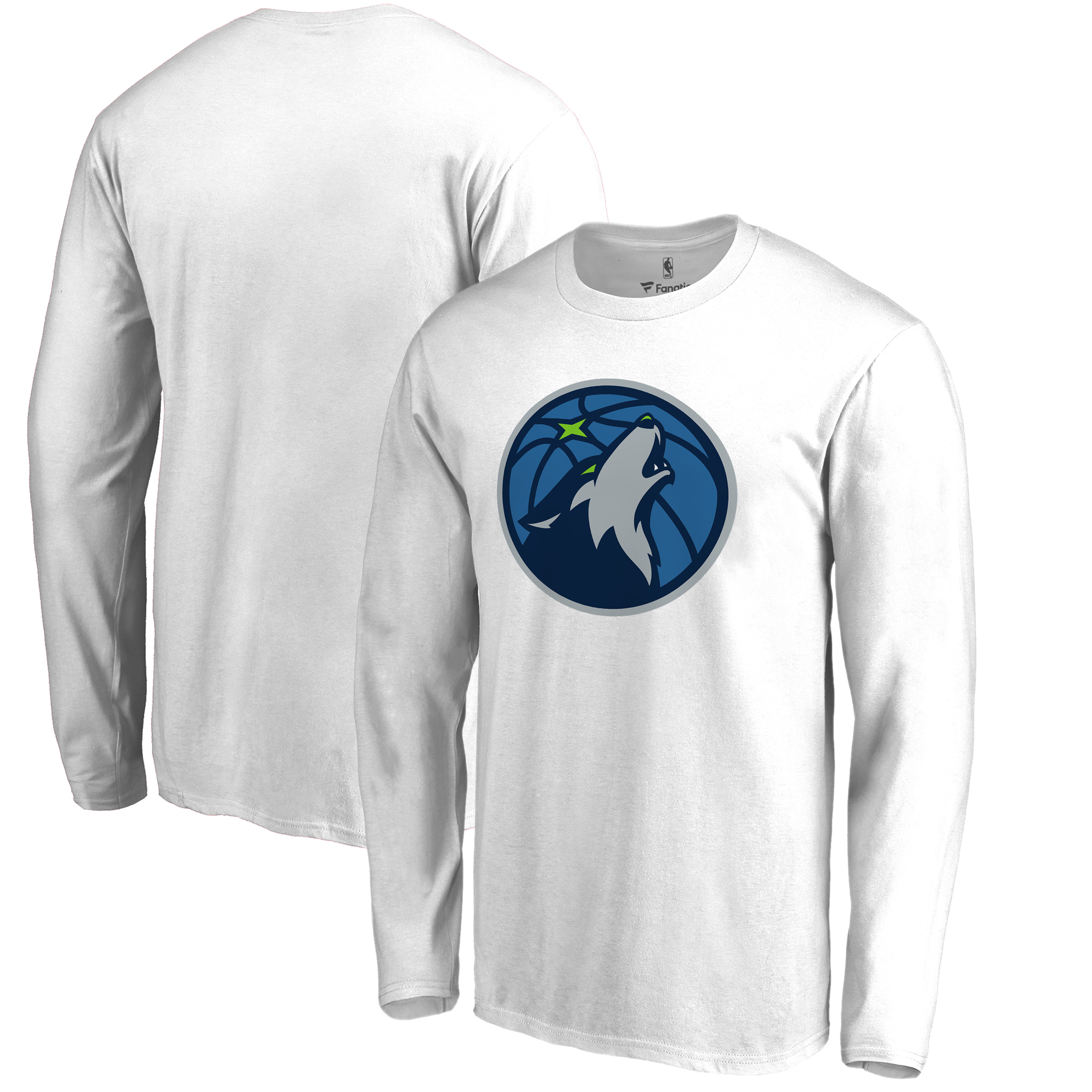 Minnesota Timberwolves Fanatics Branded Big & Tall Team Primary Logo Long Sleeve T-Shirt - White