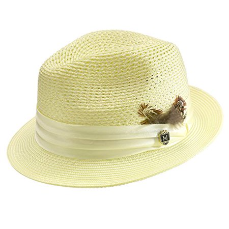 Montique - Montique Men s Braided Pinch Fedora Hat H24 - Walmart.com 47ba1e0ed872