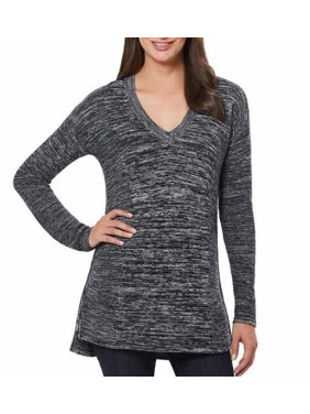 Ellen Tracy Womens V-Neck Marled Knit Pullover Sweater (Black/Ivory, Small)