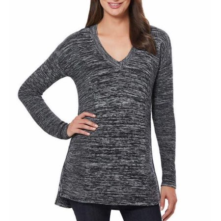 Ellen Tracy Womens V-Neck Marled Knit Pullover Sweater (Black/Ivory, Small) Ivory V-neck Sweater