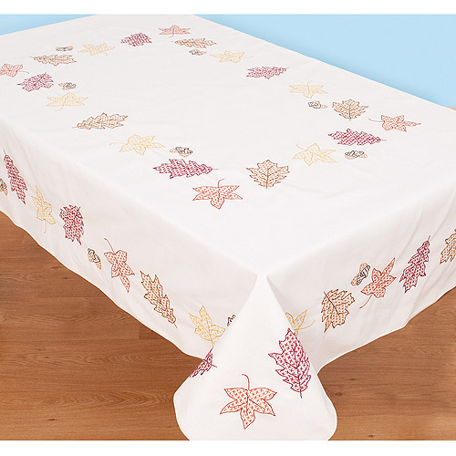 "Jack Dempsey Fall Leaves Stamped White Table Cloth, 50"" x 70"""
