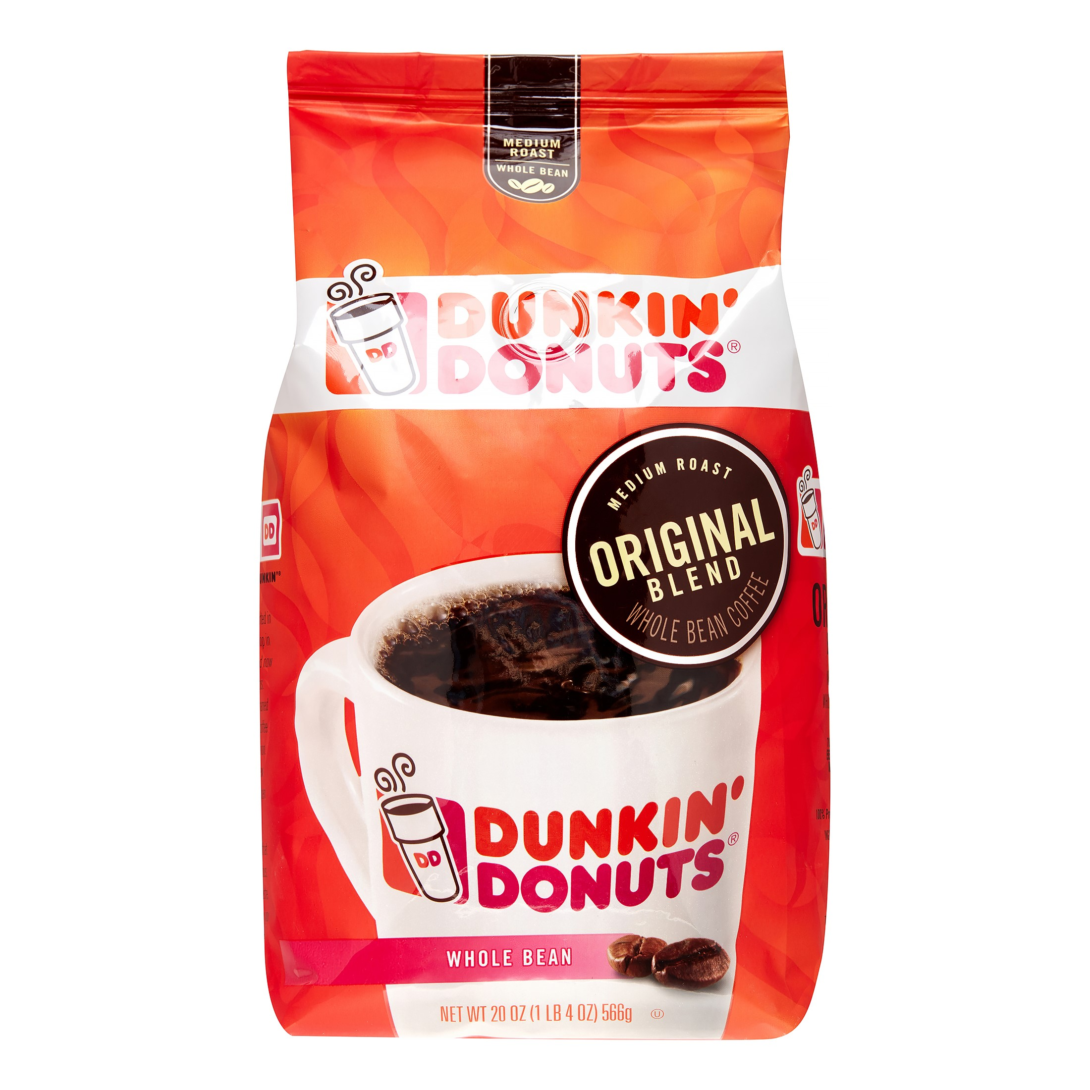 Dunkin' Donuts Medium Roast Whole Bean Coffee, Original Blend, 20 Oz