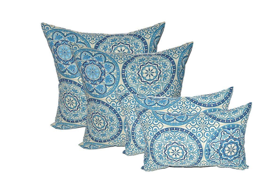 "Set of 4 Indoor   Outdoor Pillows 17"" Square Throw Pillows & Rectangle   Lumbar Decorative... by"