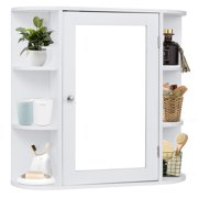 Costway Multipurpose Mount Wall Surface Bathroom Storage Cabinet Mirror White Finish