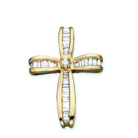 14K Yellow Gold 7/8 ct. Round and Baguette Cut Diamond Cross Pendant with Chain White Gold Round Diamond Cross