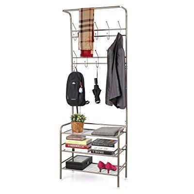 homfa metal entryway coat shoe rack 3-tier shoe bench wit...