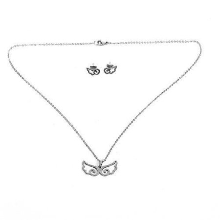 Angel Set Jewelry Set (Sexy Sparkles Stainless Steel Angel Wing Necklace and earring set for women)