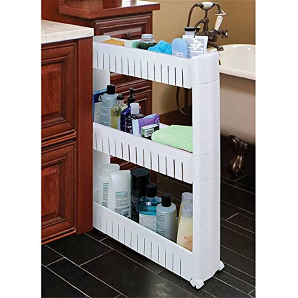 4 Tier Storage Tower,Mobile Shelving Unit Organizer Bathroom Kitchen Trolley Spice Rack by
