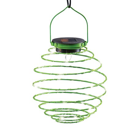Unique Spiral Coil Spring Solar Powered Hanging Lantern Outdoor Decoration with Mini Fairy Lights, Green - Fairy Decorations
