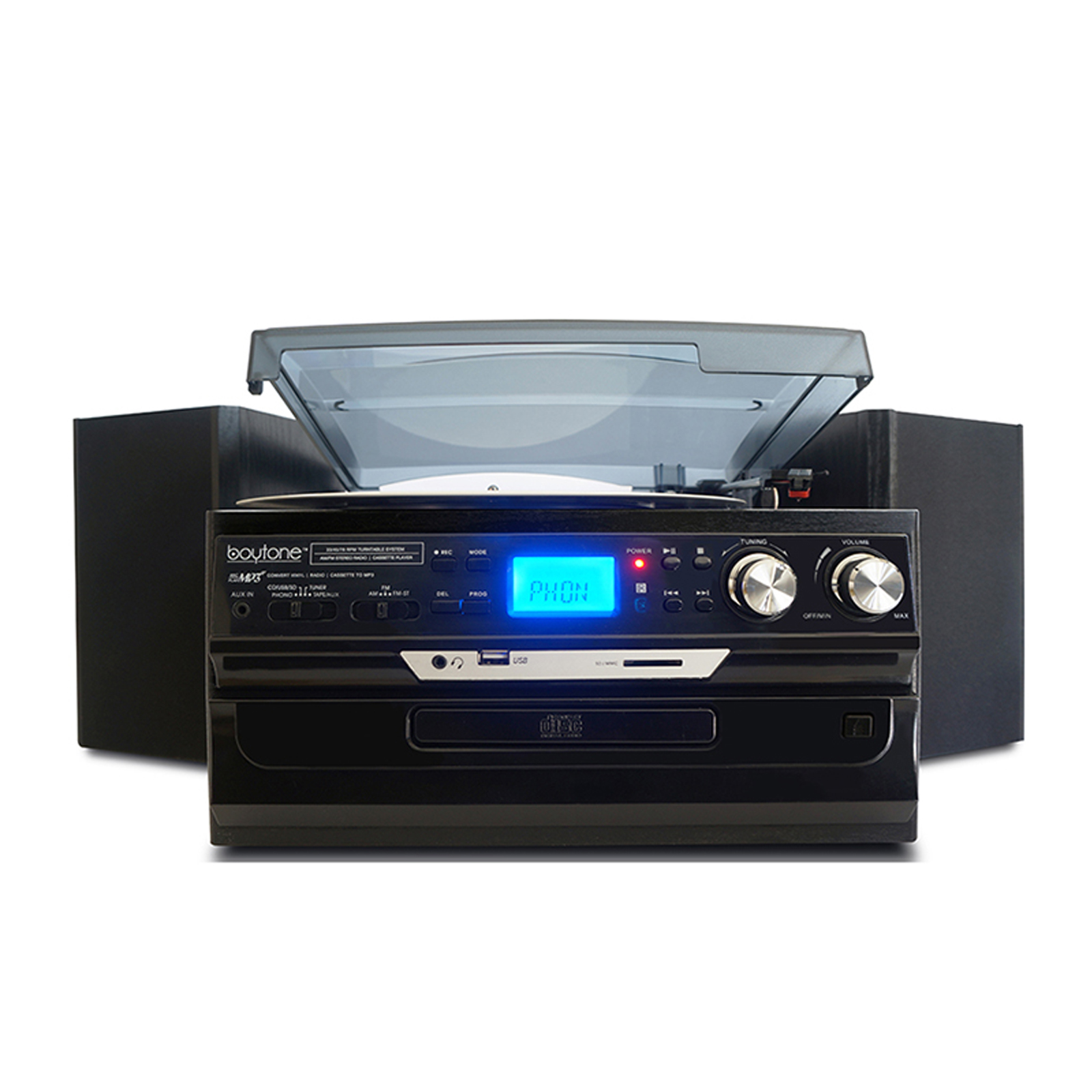 Boytone 7 in 1 Bluetooth 3 Speed Home Turntable System with CD, Cassette, AM/FM, USB, SD and AUX