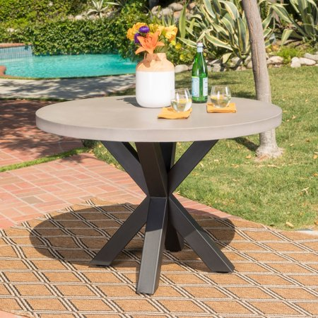 Christopher Knight Home Teague Outdoor Round Light-weight Concrete Dining  Table by - Christopher Knight Home Teague Outdoor Round Light-weight Concrete