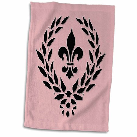 3dRose Fleur De Lis. French d꤯r. Pink and black. - Towel, 15 by 22-inch