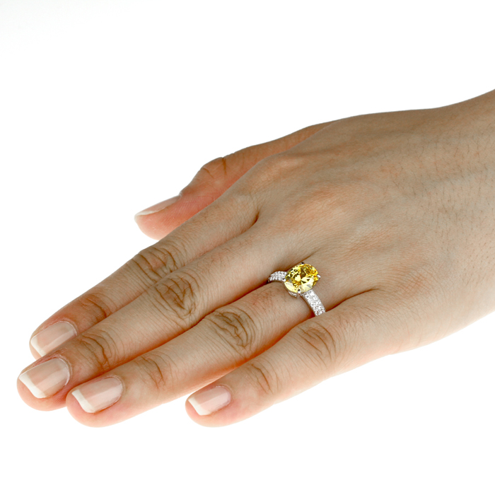 Double Accent Platinum Plated Sterling Silver 2.5ct Oval Canary Yellow CZ Ladies Cocktail Ring Size 5 to 9