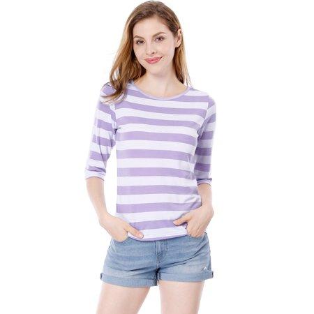 Unique Bargains Women's Elbow Sleeves Contrast Color Stripes Top Pink Gray XS - image 5 de 5