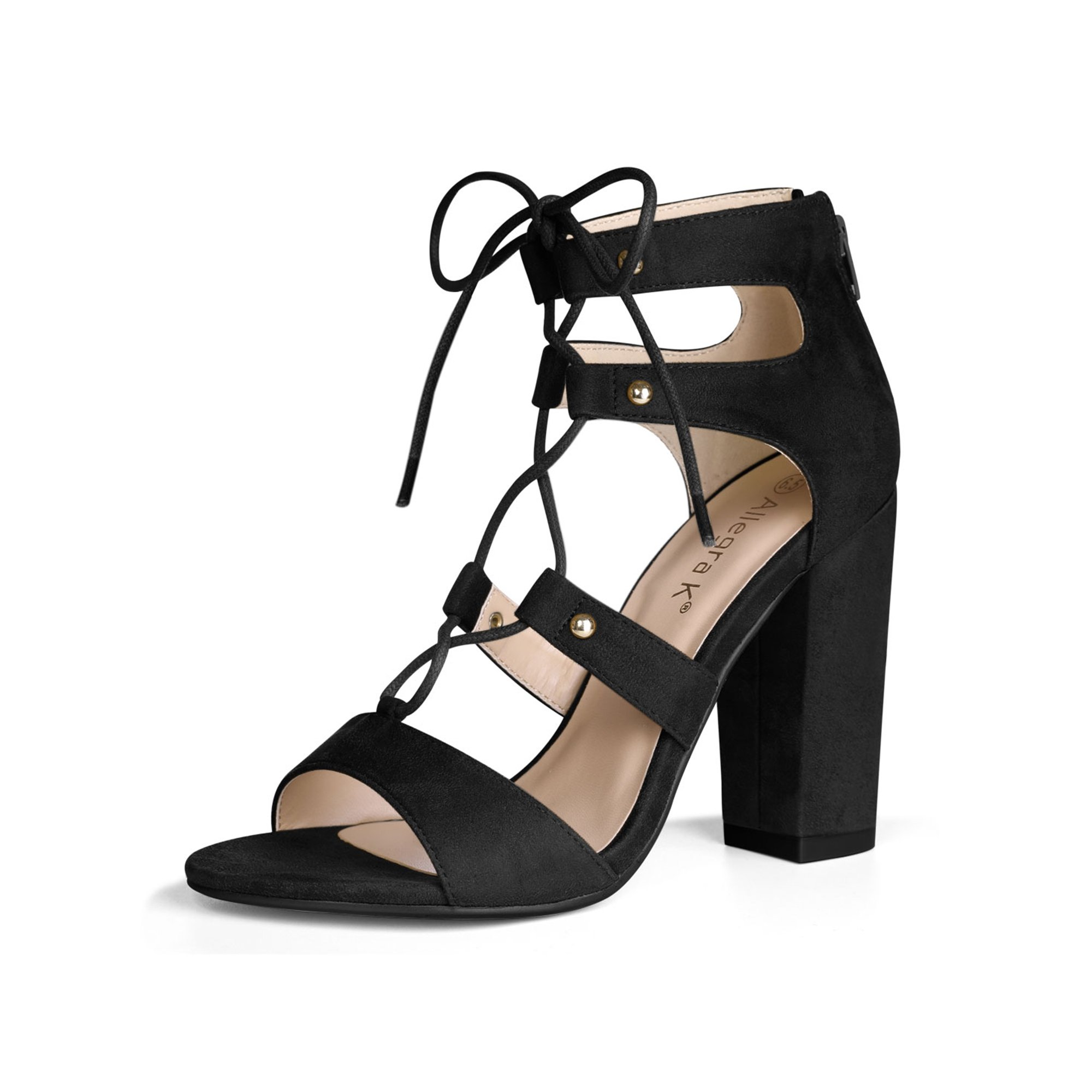 7b2c1599ac0 Unique Bargains Women's Chunky Heel Open Toe Lace Up Gladiator Sandals  Brown (Size 6.5)