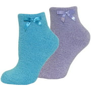 Women's Chenille Slipper Sock with Bow, 2-Pair Pack