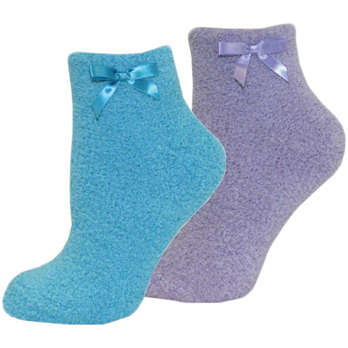 MUK LUKS Women's Chenille Slipper Sock with Bow, 2-Pair Pack