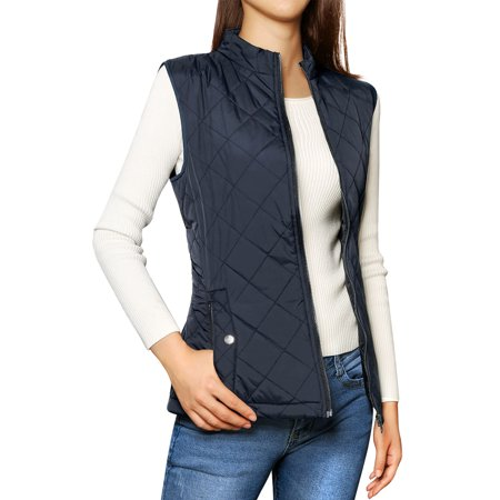 - Mother's Day Gift Women's Zip Up Front Stand Collar Lightweight Quilted Padded Vest Coat Dark Blue L (US 14)