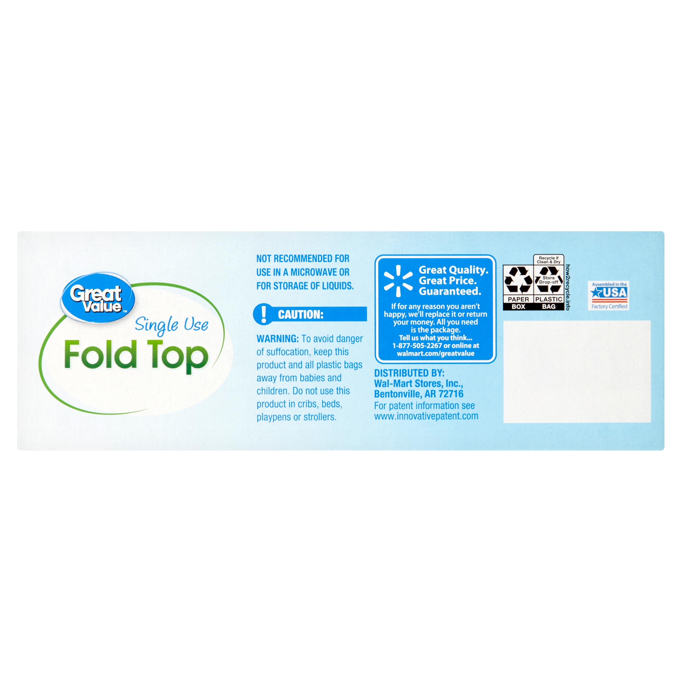 New Great Value Single Use Fold Top Sandwich Bags 150