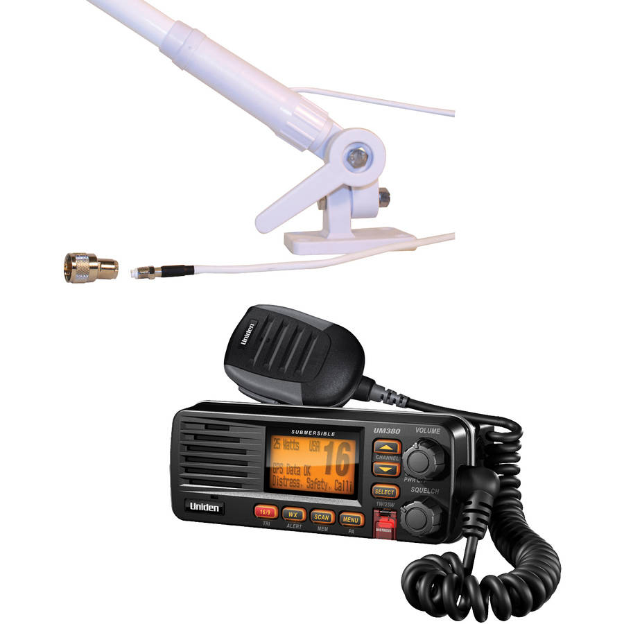 Uniden UM380Bk Fixed Mount VHF 2-Way Marine Radio and Tram 1673 AIS VHF 4.1DBD Gain Marine Antenna, Black by Uniden