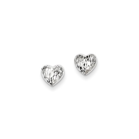 14k White Gold Heart Post Stud Earrings Love Gifts For Women For Her