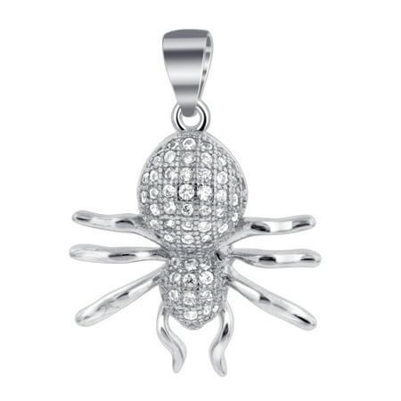Gem Avenue 925 Sterling Silver Pave Set Cubic Zirconia Spider Pendant (Jewel Spider)