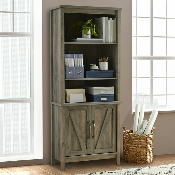 Better Homes & Gardens Modern Farmhouse Library Bookcase with Doors, Rustic Gray Finish
