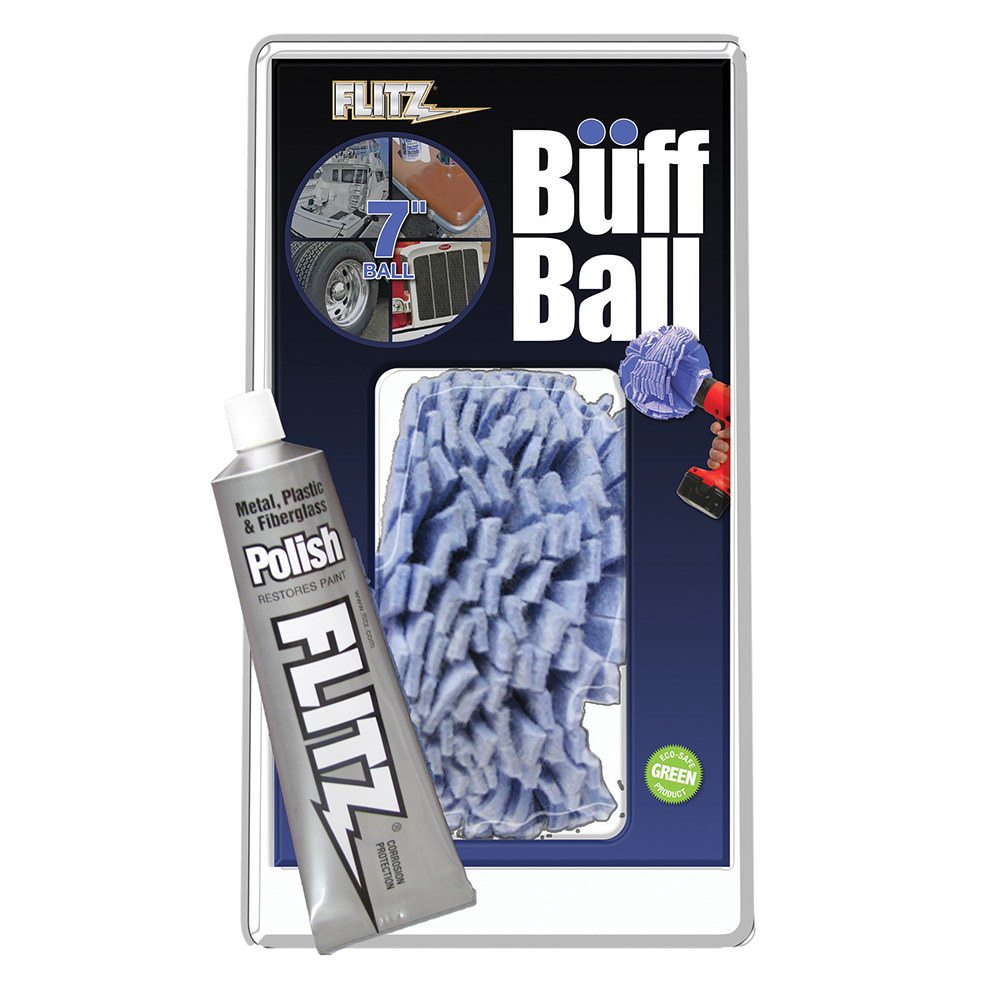 "FLITZ BUFF BALL X-LARGE BLUE  7"" DIAMETER WITH 1.76 OZ TUBE"