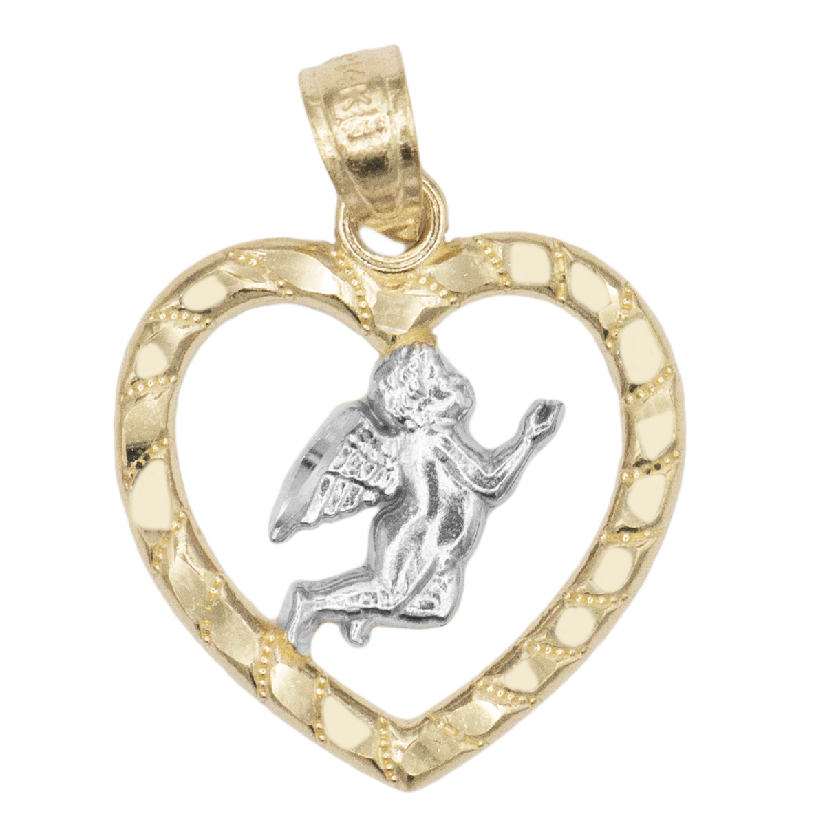 14k Solid Two Tone Yellow Gold Praying Angel in Heart Pendant Necklace, Diamond Cut Finished Religious Love for Faith Jewelry