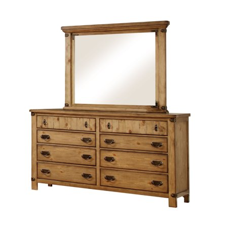furniture of america moira rustic dresser mirror set weathered elm. Black Bedroom Furniture Sets. Home Design Ideas