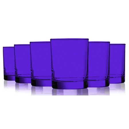 Purple Colored Beverage Aristocrat Double Old Fashioned Glasses - 14 oz. set of 6- Additional Vibrant Colors (Green Double Old Fashioned Glass)