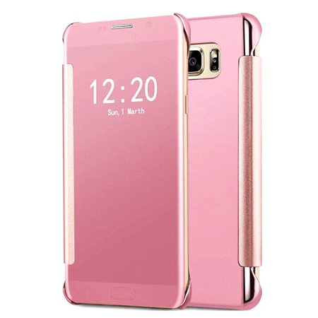 Clear Pink Case - Samsung Galaxy S7 Mirror View Clear Slim Flip Case Cover Pink