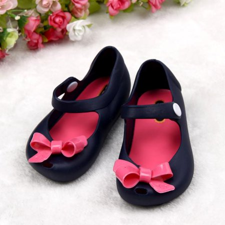 Outtop Cute Girls Baby Kids Detailed Jelly Bowknot fish mouth sandals boots Shoes DB 25