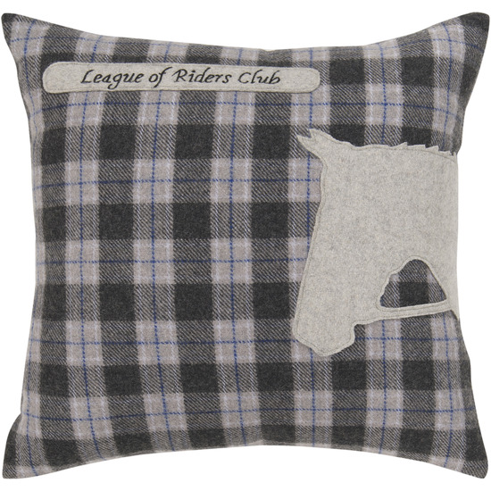 "18"" Horse Silhouette ""League of Riders Club"" on Plaid Decorative Throw Pillow"