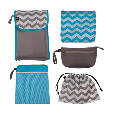 J.L. Childress 5-IN-1 Diaper Bag Organizer 5-Piece Set for Diaper Bag, Purse, Backpack or Travel Bag, Grey Chevron