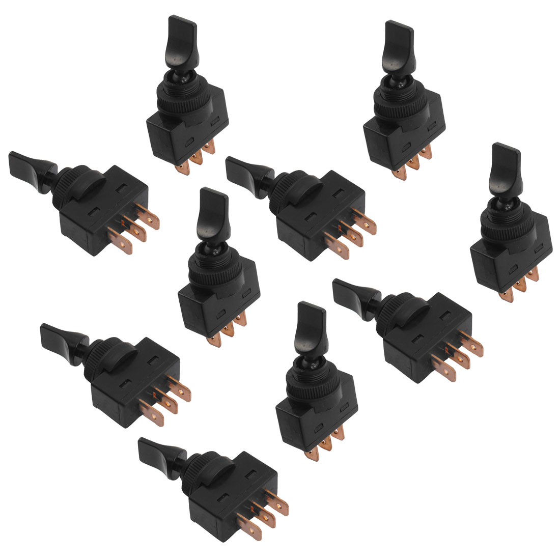 Unique Bargains 10 Pcs 12VDC 20A SPST ON/ON 12mm Mounting Thread Dia. Black Toggle Switch