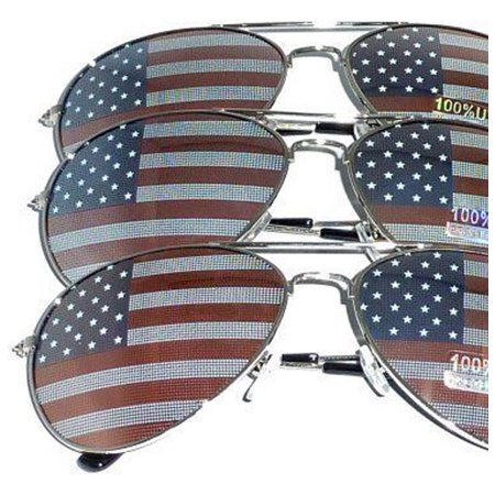 3 PAIRS of Silver Frame US Aviator USA American Flag Print Sunglasses United States stars