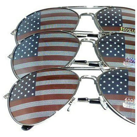Sterling Silver Sunglasses - 3 PAIRS of Silver Frame US Aviator USA American Flag Print Sunglasses United States stars