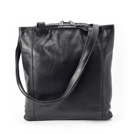 Winn International Leather Tote Bag Handbag with Three Compartments