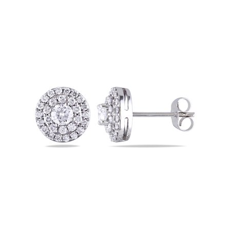 1 Carat T.W. Diamond 14kt White Gold Double Halo Stud Earrings