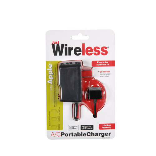 Just Wireless Portable A/C Charger for Apple