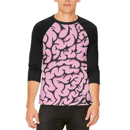 Halloween Pink Brains Costume Mens Raglan T - Brain Punch Halloween